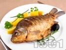 Рецепта Пълнен никулденски шаран с ориз и лук, печен на фурна